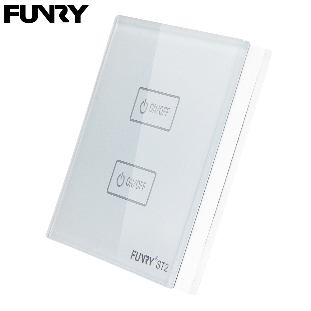 FUNRY 2Gang Smart Panel Touch Remote Control Wireless Crystal Tempered Glass Surface Anti-high Temperature Waterproof switch funry st1 us 3gang light smart switch crystal glass panel wireless touch remote control 110 240v surface waterproof interruptor