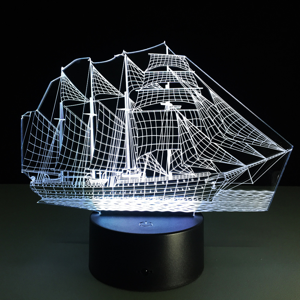 Luzes da Noite forma de barco mar night How to Conjunto The Color : Touch The Button on The Lamp Base