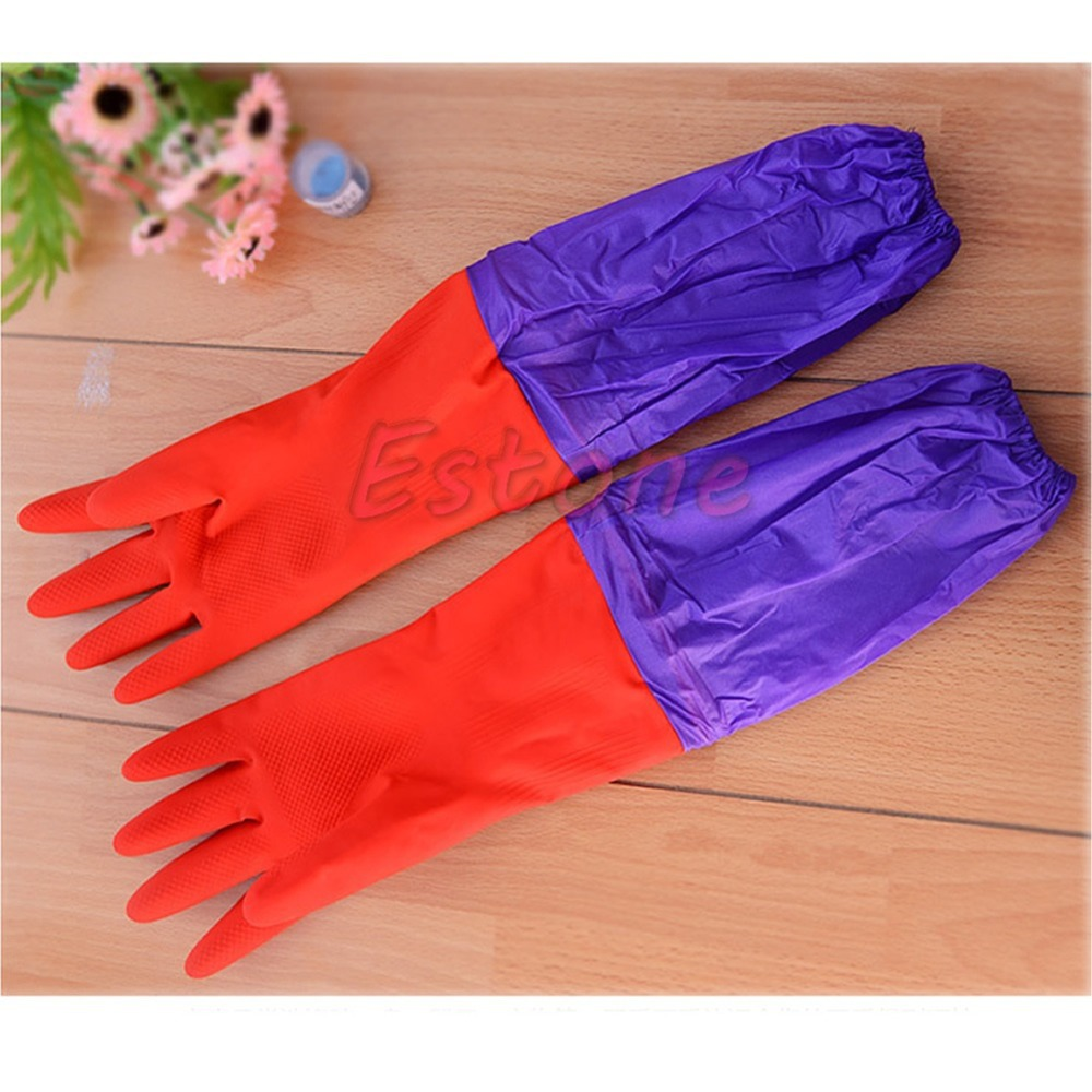 font b Household b font Kitchen Wash Dishes Cleaning Waterproof Long Sleeve Rubber Latex font