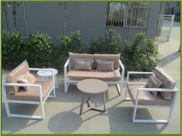Por White Garden Sofa Set Outdoor Metal Aluminium Hotel 0092