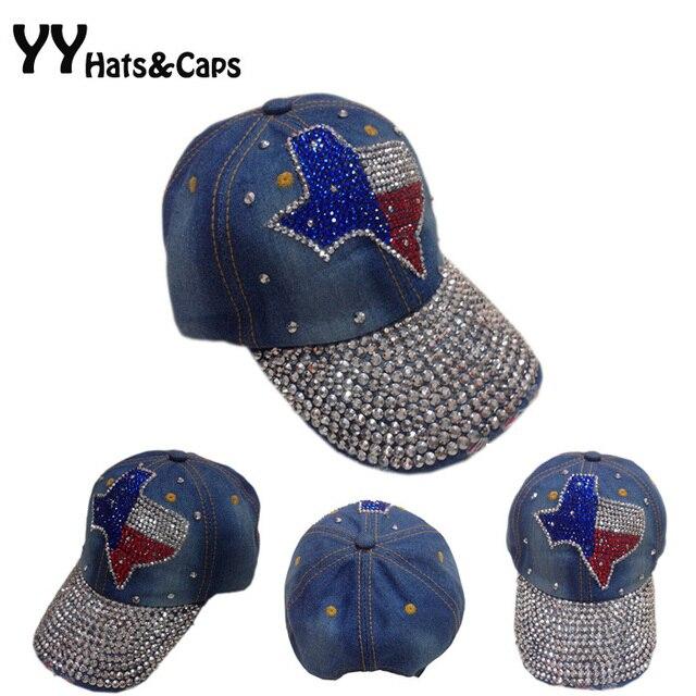 5157344b8b9 New Top Design Adjustable Baseball cap Fashion Leisure Rhinestones Jean  Snapback ball Hat Cap For Women Summer Sunhat YY0325