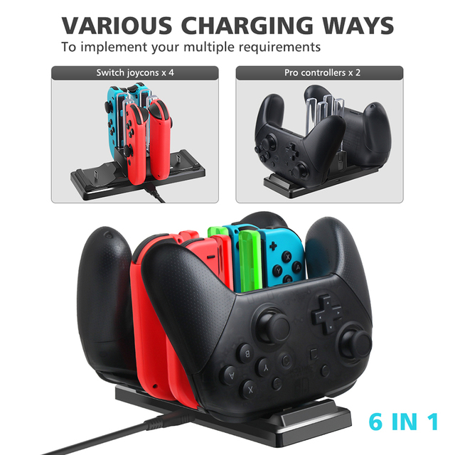6 in 1 Charging Dock Station Controller Charging Holder Stand LED Indicator for Nintend Switch Joy con Pro Controller Charger