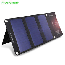 PowerGreen Solar Panel Charger Dual Ports Traveling 21 Watts Folding Solar Power Bank Solar Smart Charger Battery Bank for Phone