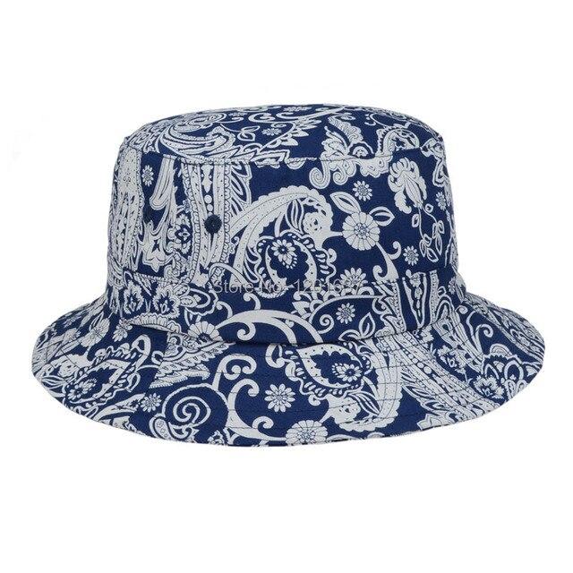 e81c2073224fa9 Wholesale Blue White Bucket Hats Women Floral Paisley Bucket Hat Cotton Hunting  Sun Cap Bucket Fisherman Hat Goldtop