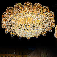 Modern Crystal Ceiling Lamps LED Gold Ceiling Lights Fixture Home Warm Neutral  Cold White 3 Colors Changeable with Controller