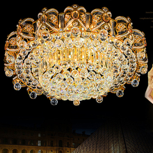 цены Modern Crystal Ceiling Lamps LED Gold Ceiling Lights Fixture Home Warm Neutral  Cold White 3 Colors Changeable with Controller