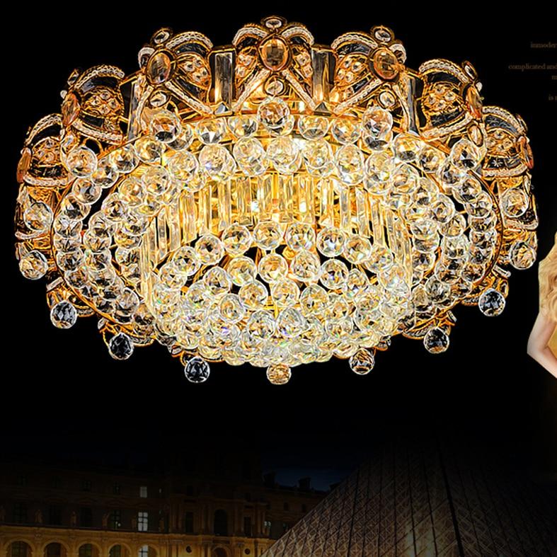 Moderne Lampade A Soffitto di Cristallo LED Luci A Soffitto Oro Casa Apparecchio Warm Neutral Bianco Freddo 3 Colori Variabile con Regolatore