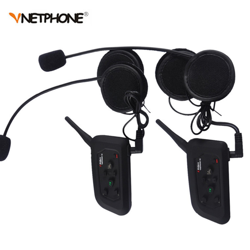 2Pcs/Lot V4 1200M Bluetooth Motorcycle Helmet intercom Headset for 4 Riders Football Wireless Referee Waterproof Interphone