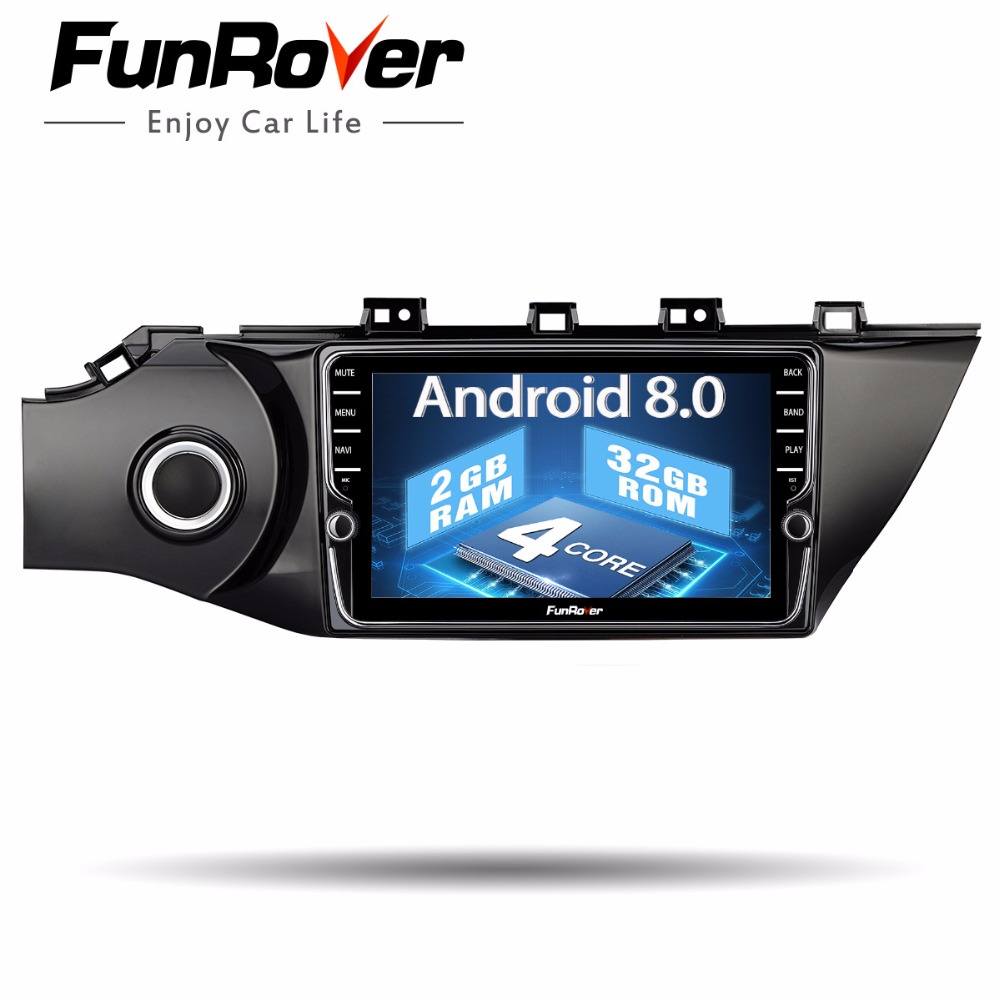 Funrover IPS Android 8.0 2 din dvd de voiture pour kia k2 rio 2016 2017 multimédia radio magnétophone audio stéréo wifi lecteur vidéo fm