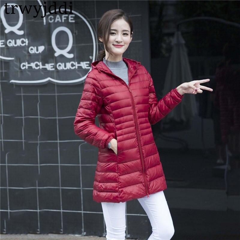 94c7062dd98 ... женские парки Пальто Верхняя о... 6XL 2018 Новый осень-зима Для женщин  тонкая пуховая куртка корейский Тонкий длинный с капюшоном