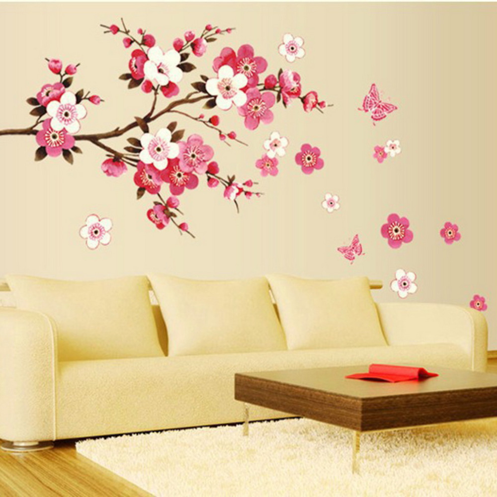 Pink Flowers Butterfly Bathroom decor Removable large Wall Stickers ...