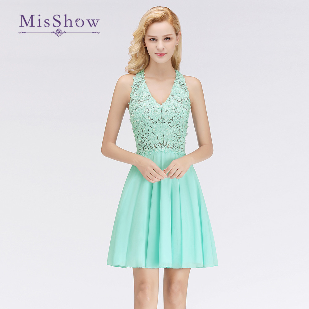 New 2019 Elegant Mint Green Short   Bridesmaid     Dress   Ruffles Padded V Neck Chiffon Wedding Events   Bridesmaid     Dresses