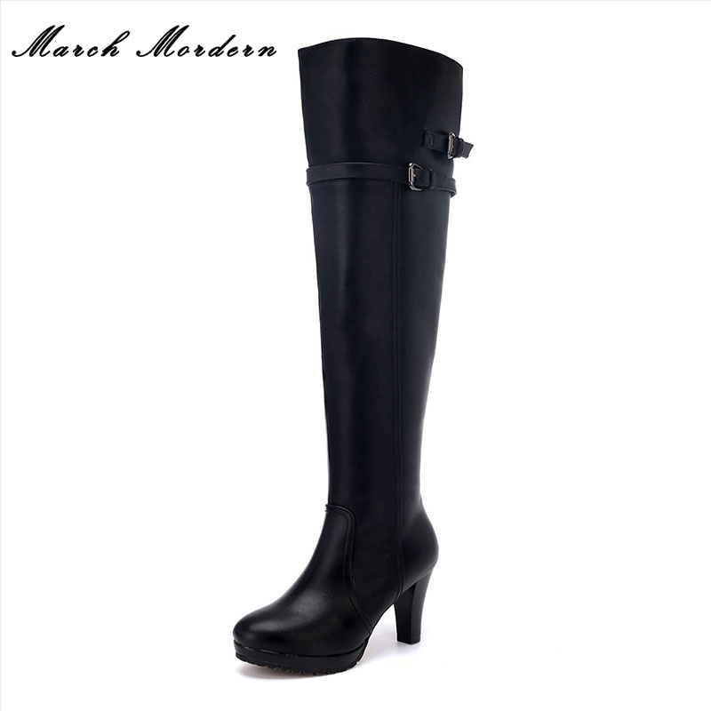 March Mordern Fashion Women Motorcycle Boots Comfortable Short Plush Solid Sewing Zipper Women High-Heeled Shoes march mordern autumn and winter women