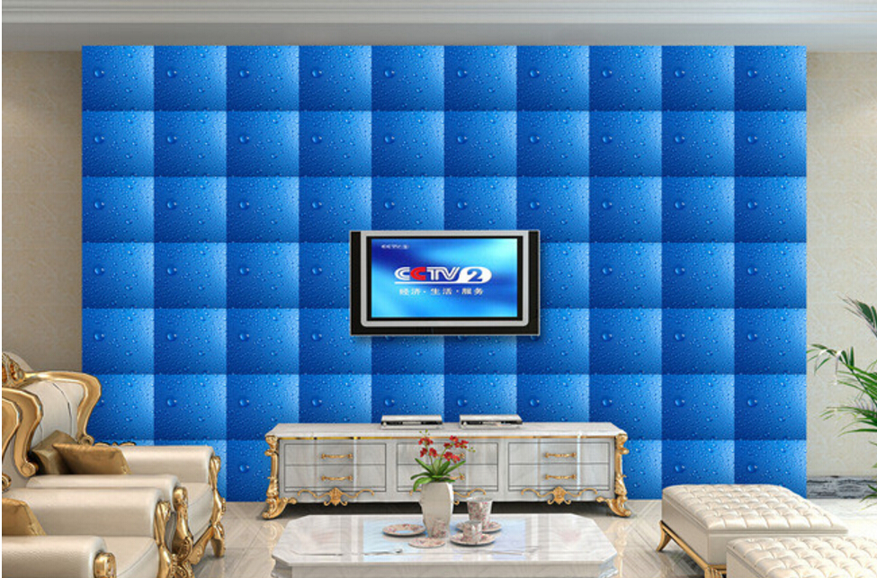 Custom photo wallpaper,Watermark blue drops,3D stereoscopic wallpaper for living room restaurant bedroom waterproof wallpaper custom baby wallpaper snow white and the seven dwarfs bedroom for the children s room mural backdrop stereoscopic 3d
