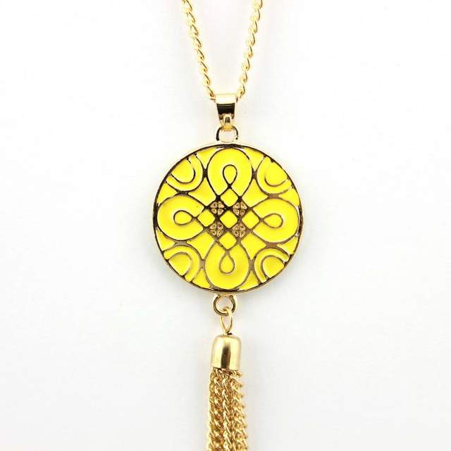Top Quality Enamel Monogram Tassel Necklace Women 2016 Fashion Jewelry Gold Chinese Knot Necklace Wholesale