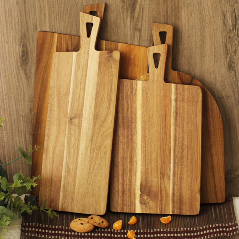Large Long Acacia Wooden Chopping Block Kitchen Wood Food Plate Pizza Sushi Bread Salad Whole Wood Tray Cutting Board No Paint