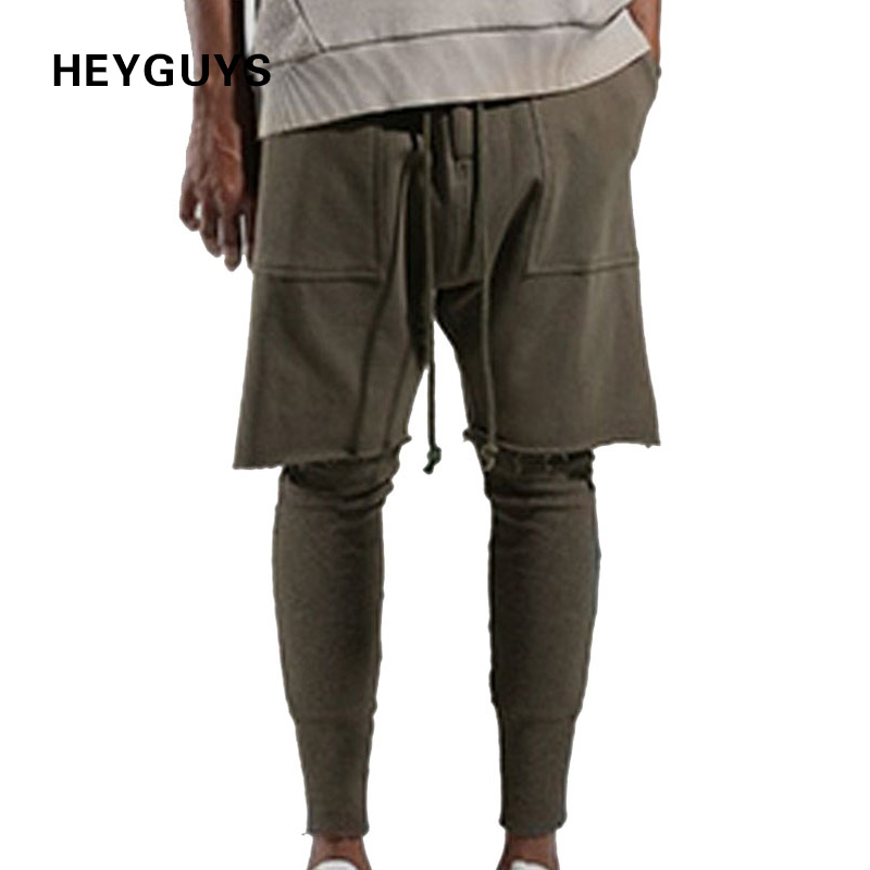 HEYGUYS Jogger-Trousers Long-Pants Streetwear Hiphop Fitted-Bottoms Fitness Casual Fashion