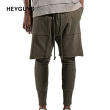 HEYGUYS 2018 moda fitness długie spodnie mężczyźni casual spodnie baggy spodnie Jogger moda dopasowana spodnie sklep Streetwear hiphop tanie tanio Pełna długość Mężczyzn HEYGUYS w Midweight Płaskie Sukno Regularne Elastyczna talia Ruched Połowie Spodnie harem