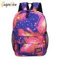Guapabien 2016 estrellas universo espacio imprimir bandera de mochila escolar mochila de viaje de compras portátil bolso suave de la cremallera de las mujeres back pack