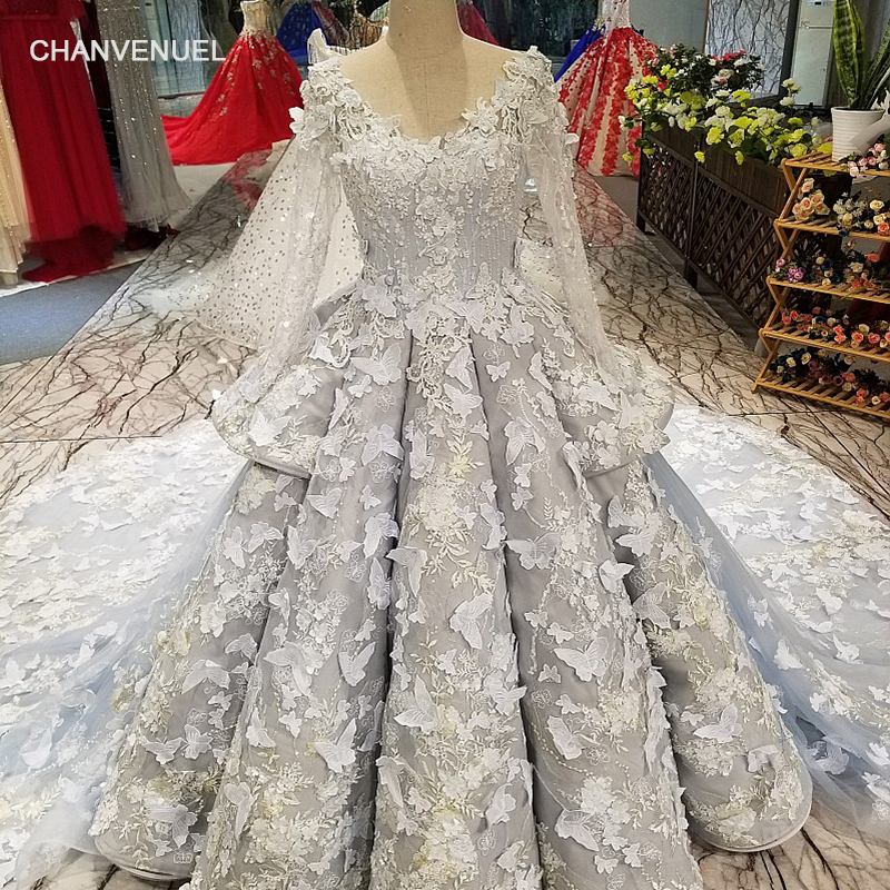 LS18841 grey ball gown   evening     dress   with butterfly flowers long tulle sleeve backless party   dress   high quality quick shipping