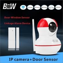 Wifi Cámara de Seguridad de Alarma + Sensor de Puerta Ventana antirrobo Home Video Vigilancia PTZ P2P Cámara Wifi BW12R