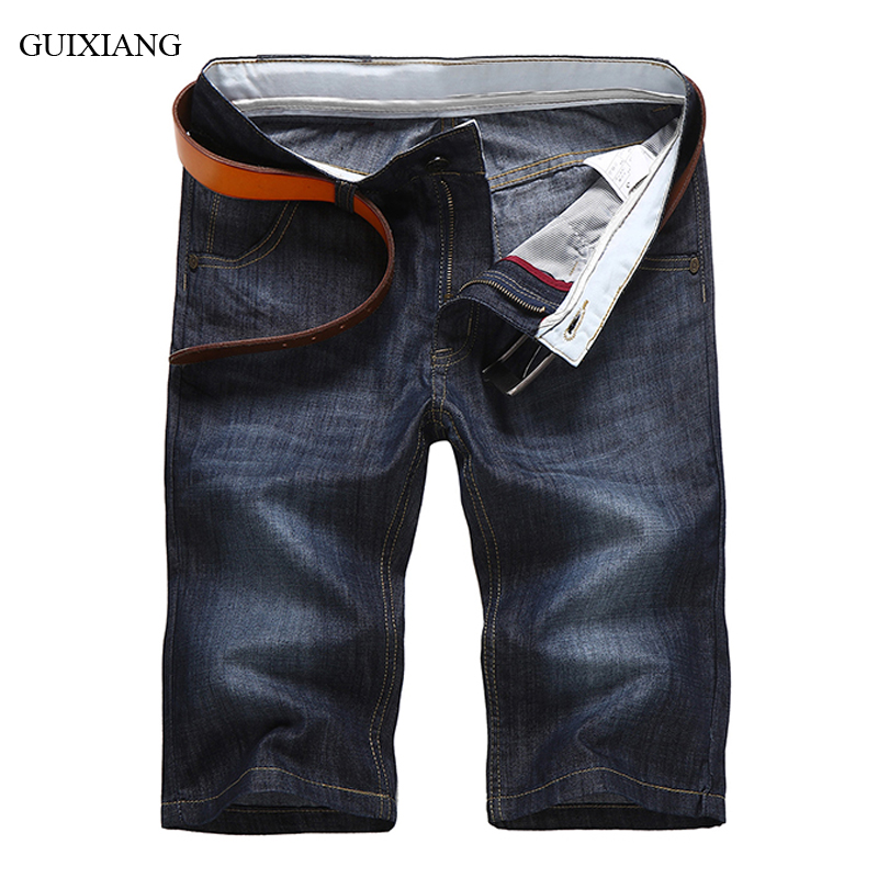 2018 new arrival summer style men boutique short denim jeans fashion casual solid plus size straight knee length jeans 28-40