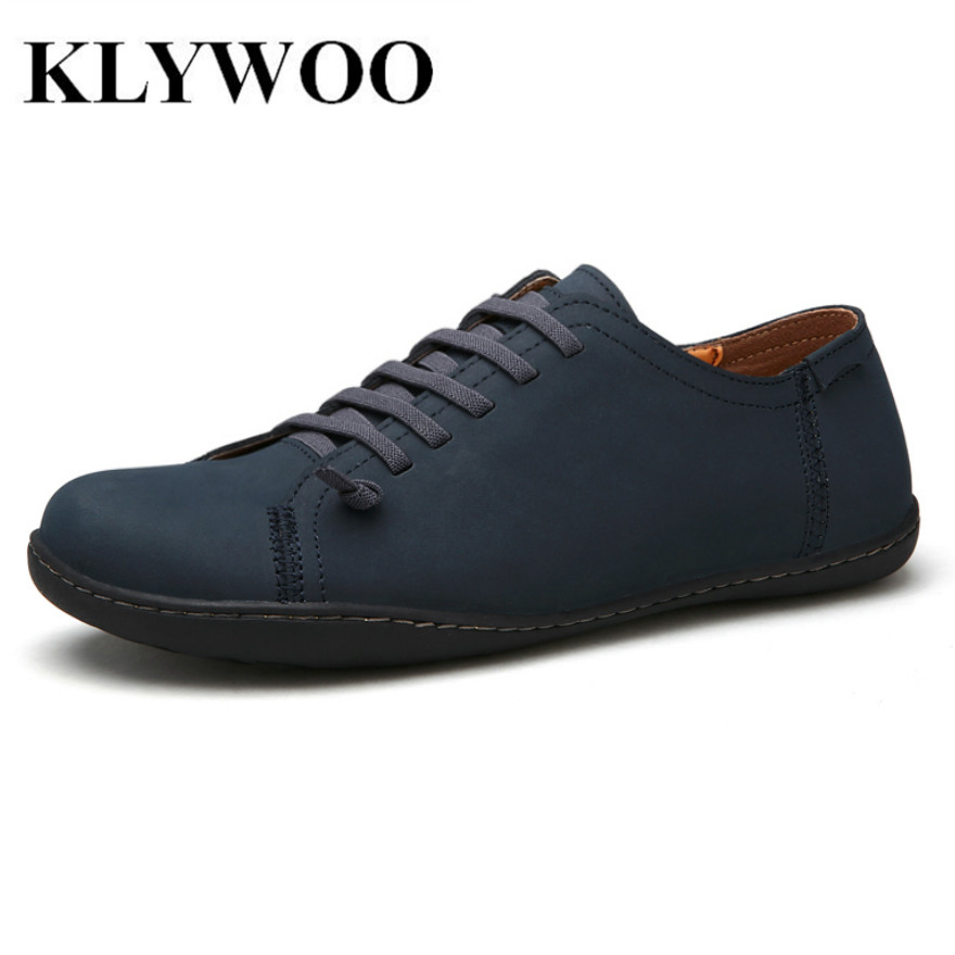 KLYWOO New Fashion Genuine Leather Men Casual Shoes Breathable Shoes For Men Shoes Waterproof Brand Men Driving Shoes Brown new men fashion drees shoes genuine