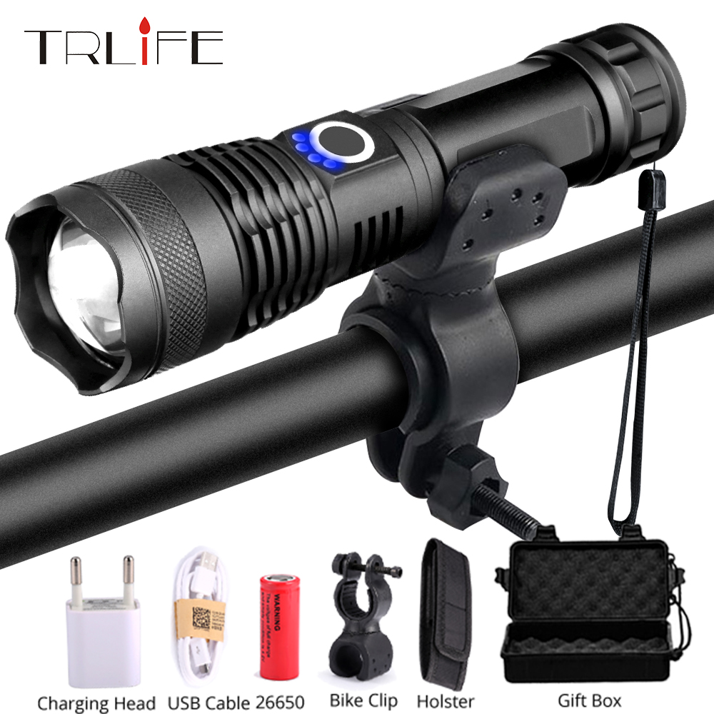 Tactical LED Flashlight Bike Light Bicycle Lamp Hunting Rading XHP50 Torch Rechargeable USB Zoom 5 Mode Use 18650 26650
