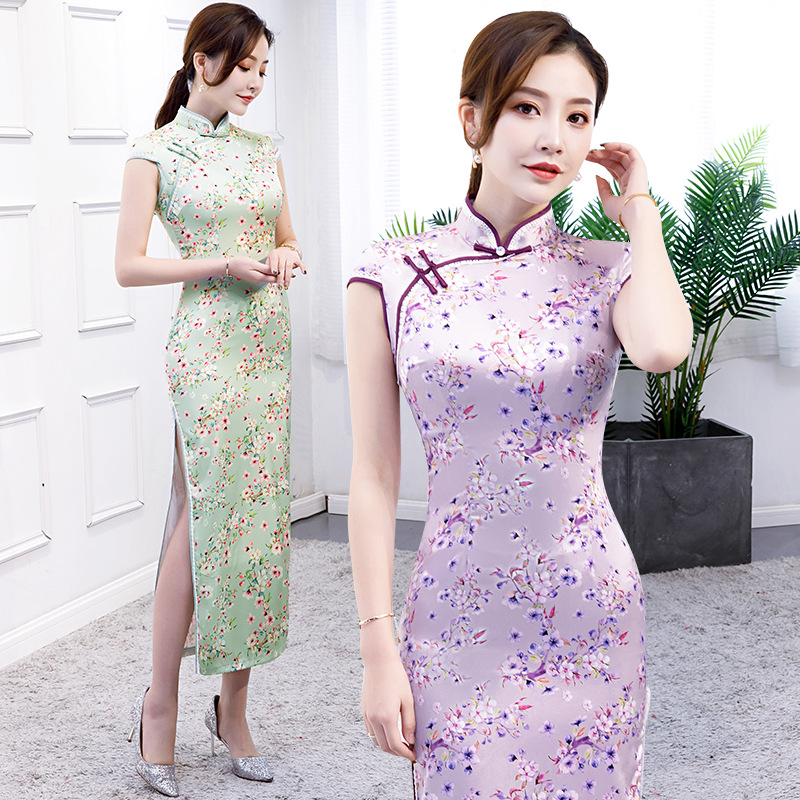 2019 Hot High Fashion Satin Cheongsam Chinese Classic Womens Qipao Elegant Short Sleeve Novelty Long Dress S-5xl Za-xiaohua Quell Summer Thirst Novelty & Special Use