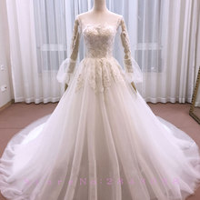 Waulizane Shiny A-Line Wedding Dress Backless Chapel Train