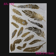 1PCS Flash Metallic Waterproof Tattoo Gold Silver Women Fashion Henna Peacock Feather Design Temporary Tattoo Stick Paster