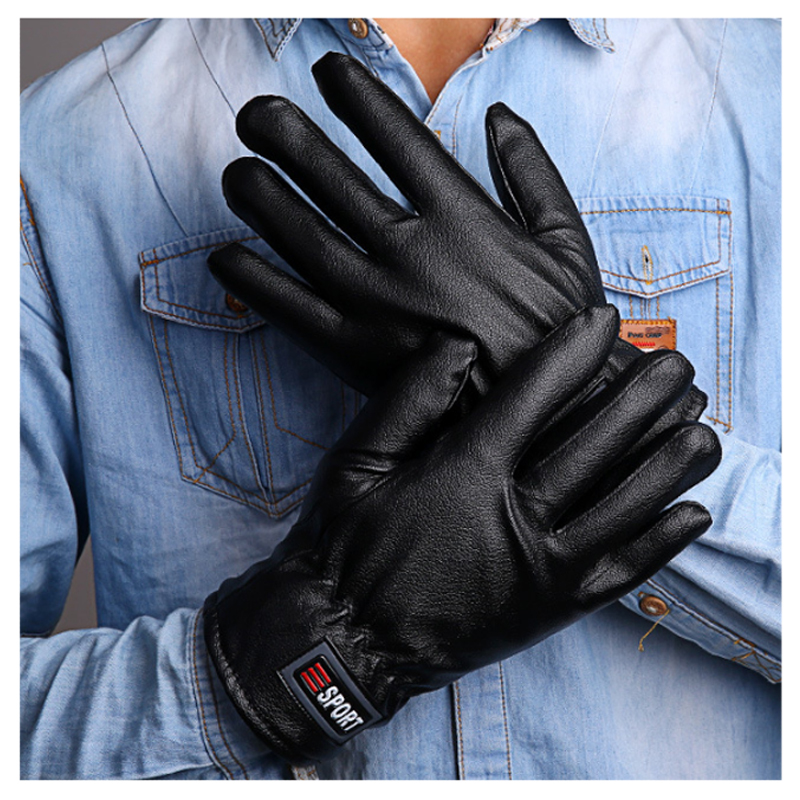 Men's Winter Sport Warmer Gloves Super Quality PU Leather Plaid Pattern Covered Fingers wrist Mittens Soft Cashmere pair of sweet cashmere hooded women s winter gloves with exposed fingers