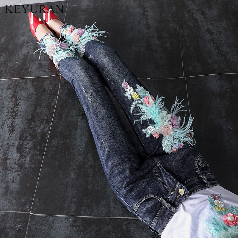 Pretty Girl Jeans Casual Flower Embroidered Flares Women Fashion Jeans Pant Slim Stretch Cotton Denim Trousers For Woman L2977