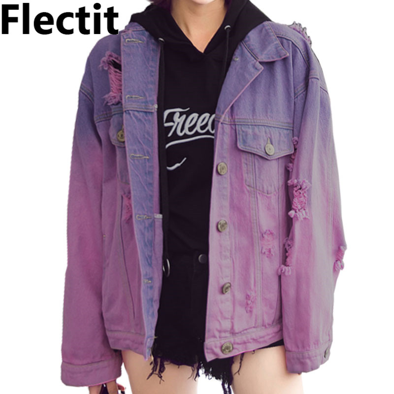 Flectit Harajuku Street Style Ombre Wash Oversized Frayed Denim Jacket For Women Faded Purple Jeans Jacket