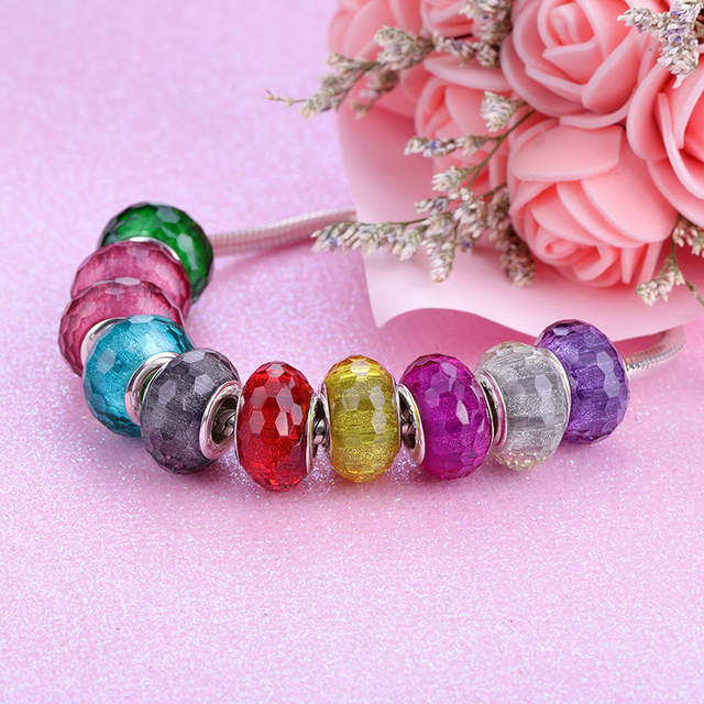 European Colorful Lampwork Glass  Murano Aolly Charm Bead Fit Pandora For Girl DIY Bracelets & Bangles 2