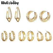 Wuli & baby Five Design Copper Hoop Earrings Women Fashion  Earrings Jewelry glitter design hoop earrings