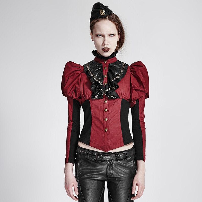 Femmes Manches Gothique Moulante red Punk Noir Black Rouge Chemise Corset Dentelle Col Steampunk Mince Lanterne En wI8q8F
