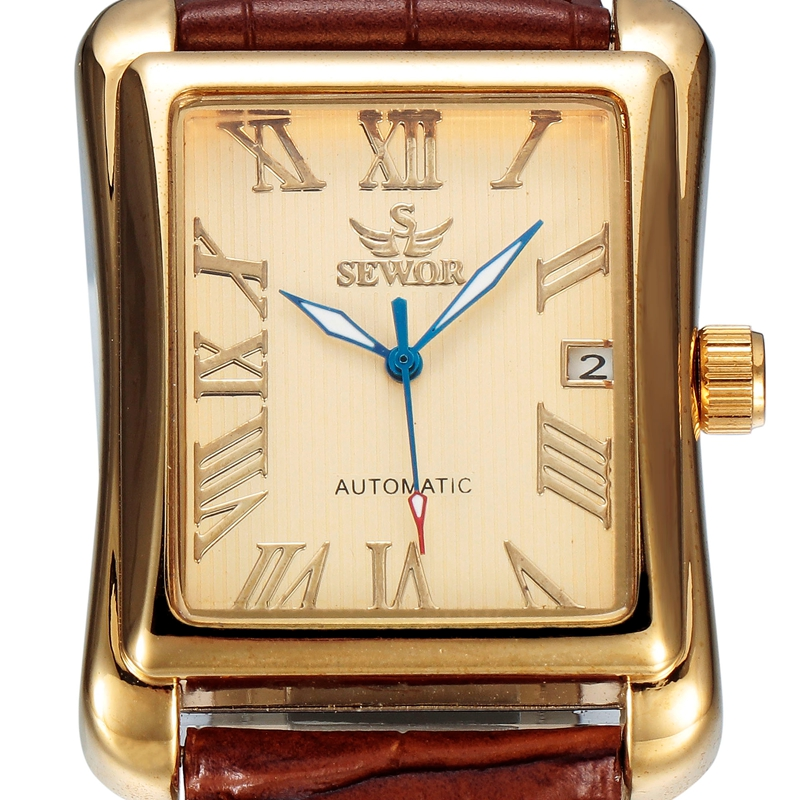 SEWOR Luxury Brand Men Gold Watch Calendar Leather Clock Business Automatic Mechanical Self Wind 2016 Fashion