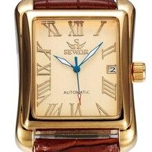 SEWOR Marca de Lujo de Los Hombres del Calendario Reloj de Oro Reloj de Cuero de Negocios Mecánico Automático Auto Viento Reloj de La Manera 2016 SWQ10