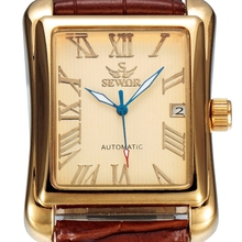 SEWOR Luxury Brand Men Gold Watch Calendar Leather Clock Business Automatic Mechanical Self Wind 2016 Fashion Wristwatch SWQ10
