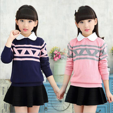 4 15 Y girl new autumn knitting wool long sleeved sweater cotton clothes children cartoon clothing