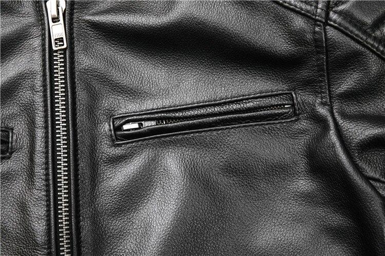 Free shipping.fashion style warm mens leather coat,biker cowhide Jacket,black genuine Leather coat.plus size homme slim,cool