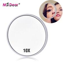 10x espejo de aumento de maquillaje con 2 ventosas de maquillaje de bolsillo espejo cosmético de aumento redondo compacto espejo de pared
