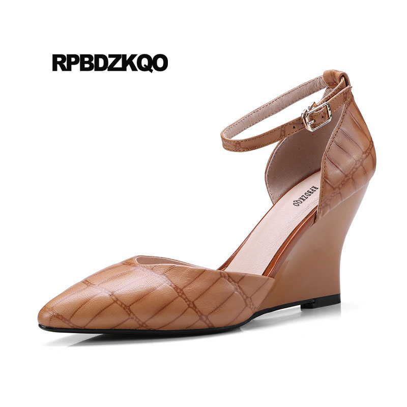 Detail Feedback Questions about Yellow Brown Celebrity High Heels Wedge  Snakeskin Genuine Leather Shoes Sandals Top Quality Pointed Toe Strap Women  Pumps ... 94f2ff038b4c