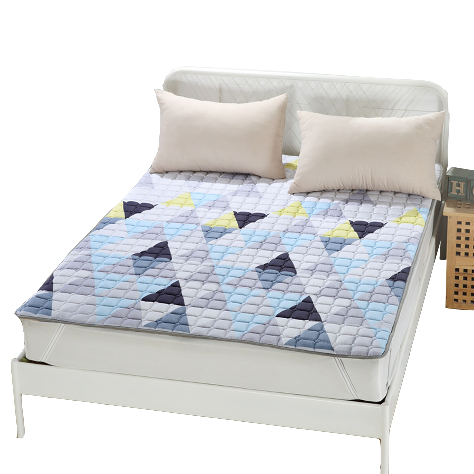 Cheap Modern Bed: Geometric Bedding Polyester Pad Mattress Protector King