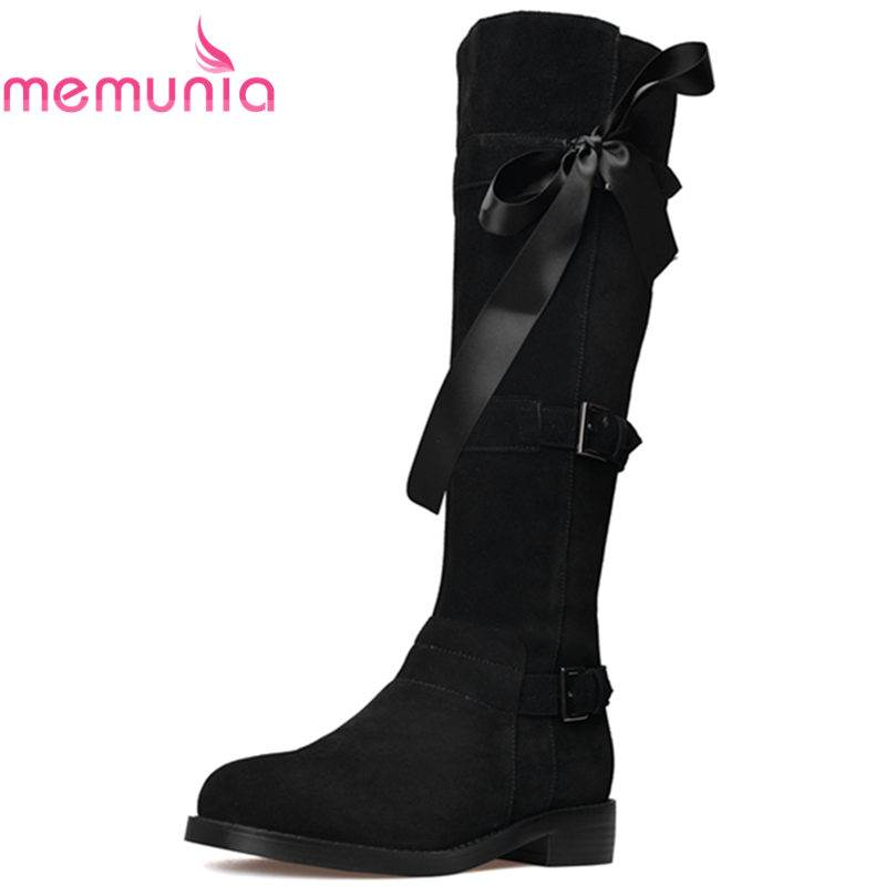 MEMUNIA 2018 NEW arrival fashion buckle cow suede leather boots round toe knee high boots for women zip platform female bootsMEMUNIA 2018 NEW arrival fashion buckle cow suede leather boots round toe knee high boots for women zip platform female boots
