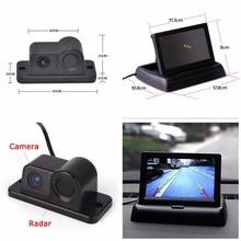 "ANSHILONG Car Reverse Parking Camera With Radar Sensor + 4.3"" Foldable LCD Rear View Monitor 3 in 1"