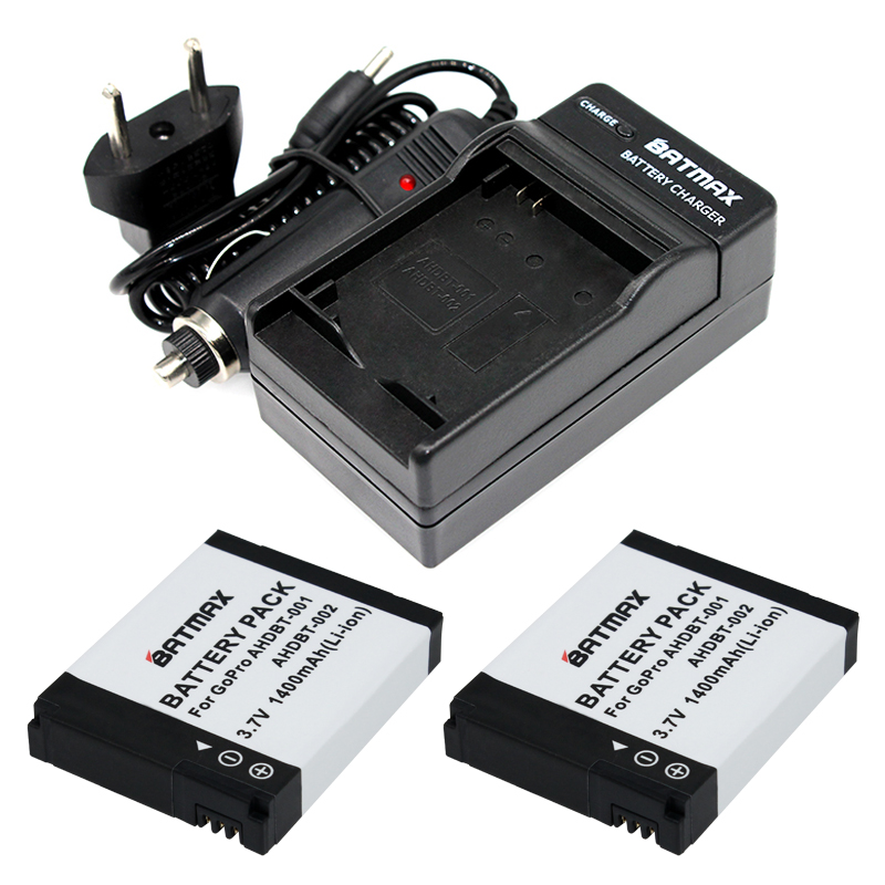 цена на 1400mAh Batteries (2-Pack) and Charger Kit for GoPro HD HERO2 and GoPro AHDBT-001, AHDBT-002o Hero 2