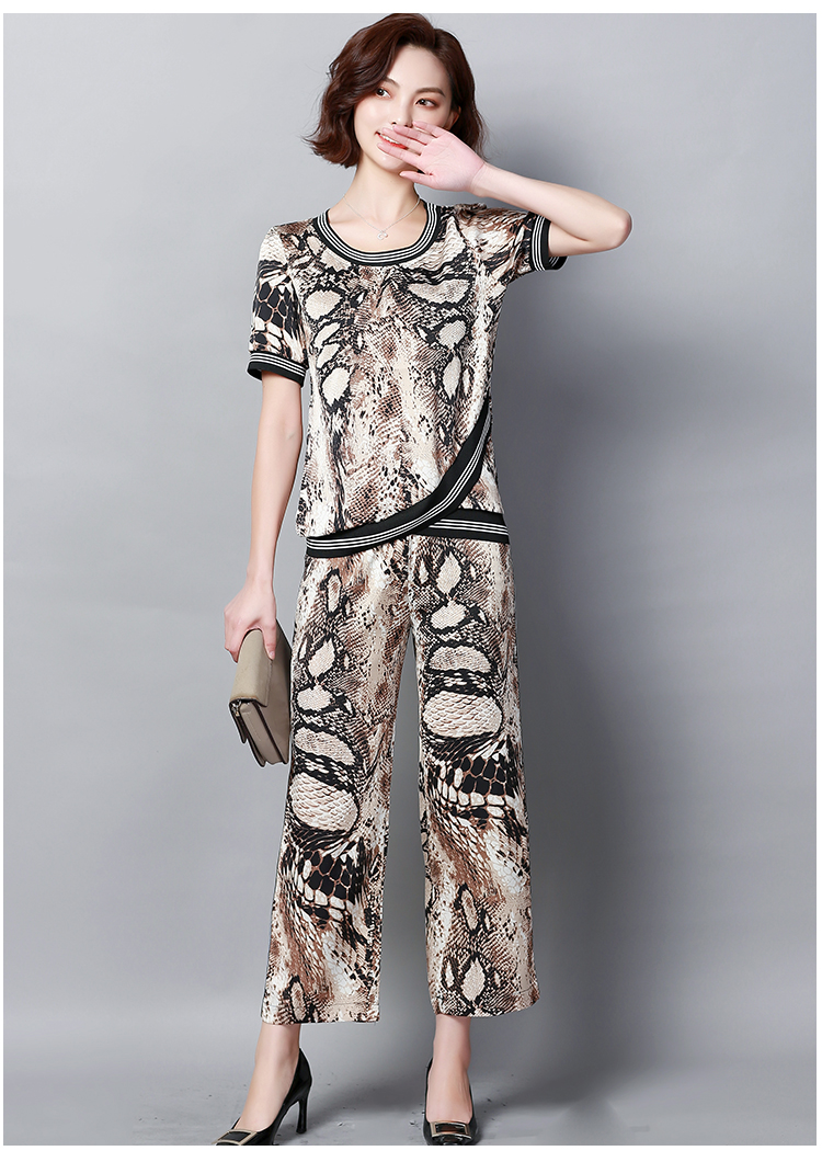 Plus Size Summer Snake Printed Two Piece Sets Women Short Sleeve Tops And Wide Leg Pants Suits Casual Elegant Korean Womens Set 38