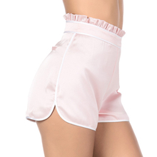 hot deal buy nducjsi white tape trim zipper fly loose shorts ladies pink high waist ruffles casual shorts 2018 summer satin chiffon shorts